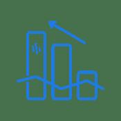 Blue progress chart icon.