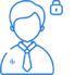 Blue icon with person and a closed padlock.