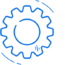 Blue moving cog icon.