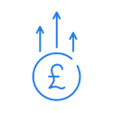 Blue pound sign icon