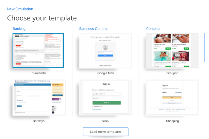 Phishing email template library.