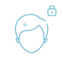 Secure user icon in turquoise.