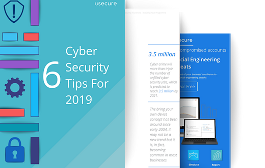 Landing page promo for 6 cyber security tips for 2019 guide