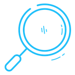 Light blue magnifying glass illustration.