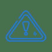 Blue warning sign icon.