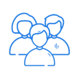 Blue icon showing a group of people.