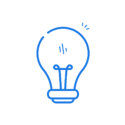 Light bulb icon in blue.