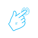 Hand icon in light blue.