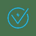 Light blue tick icon.