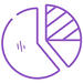 Pie chart icon line drawing in purple