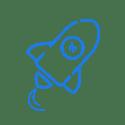 Rocket icon in blue.