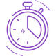 Stopwatch icon in purple