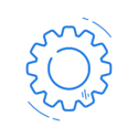 Blue cog icon.