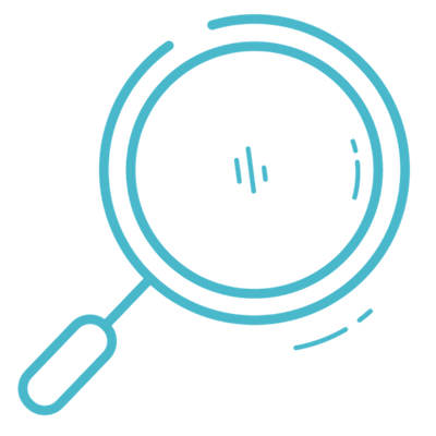 magnifying glass, turquoise
