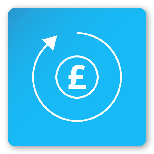 Return of investment pound sign icon