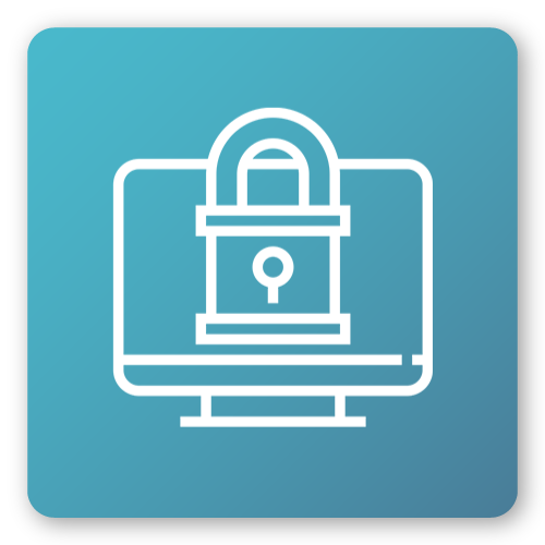 icon with computer and security padlock