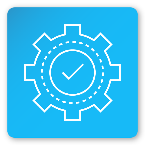 icon with tick and security cog